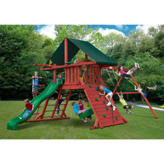 Gorilla Sun Climber I Swing Set w/ Sunbrella® Canvas Forest Green Canopy