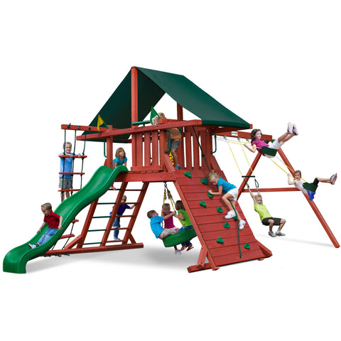 Gorilla Sun Climber I Swing Set w/ Sunbrella® Canvas Forest Green Canopy - Swings and More
