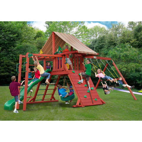 Gorilla Sun Climber II Swing Set w/ Sunbrella® Brannon Redwood Canopy - Swings and More