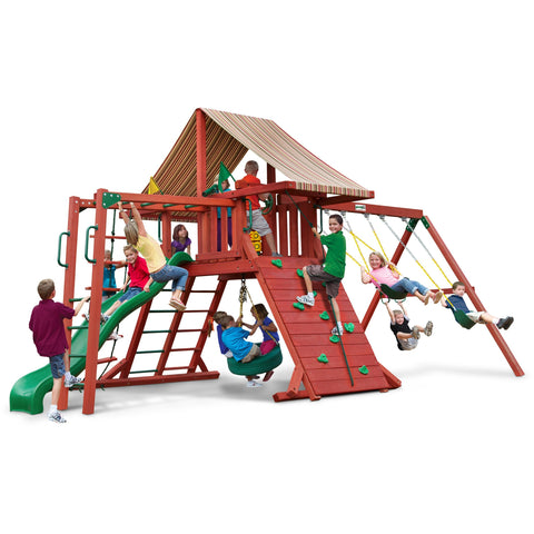 Gorilla Sun Climber II Playset  w/ Sunbrella® Brannon Redwood Canopy - Swings and More