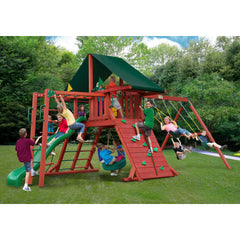 Gorilla Sun Climber II Swing Set w/ Sunbrella® Canvas Forest Green Canopy