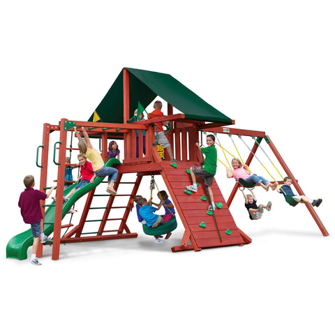Gorilla Sun Climber II Playset w/ Sunbrella® Canvas Forest Green Canopy - Swings and More
