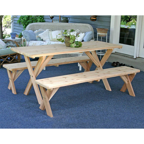 "Creekvine Designs 27"" Cedar Backyard Bash Cross Legged Picnic Table w/ Detached Benches - Swings and More"