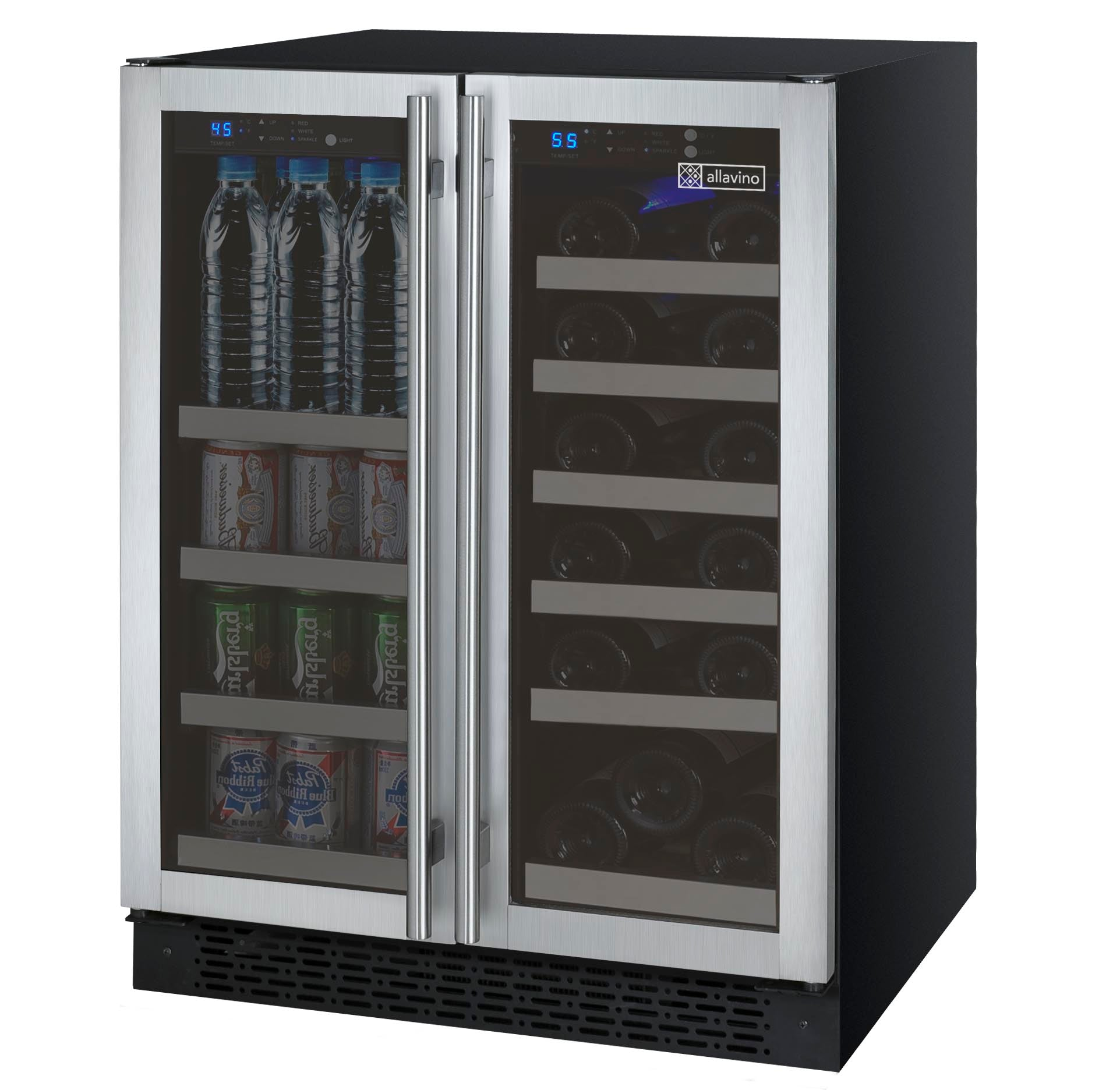 Allavino 2 Door Wine Refrigerator/Beverage Center - Stainless Steel Doors VSWB-2SSFN - Swings and More