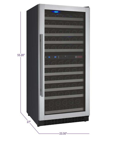 Allavino FlexCount Series 121 Bottle Dual Zone Wine Refrigerator with Right Hinge VSWR121-2SSRN - Swings and More