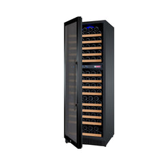 Allavino FlexCount Series 172 Bottle Dual Zone Wine Refrigerator with Black Door & Left Hinge