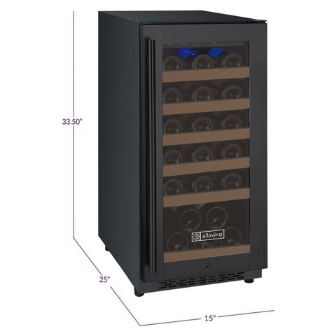 "Allavino FlexCount Series 15"" 30-Bottle Single Zone Wine Refrigerator - Black VSWR30-1BWRN - Swings and More"