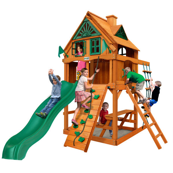 Gorilla Playset Chateau Tower Treehouse w/ Fort Add-On & Amber Posts 01-0063-AP - Swings and More