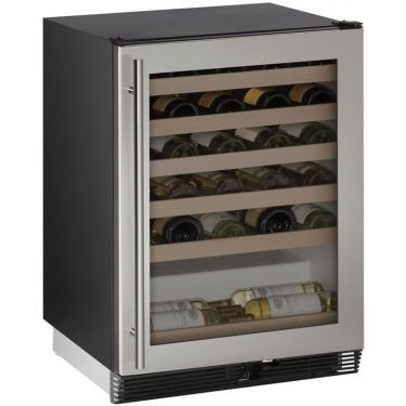 "U-Line 24"" Wide 48 Bottle Singe Zone Stainless Steel Wine Refrigerator - Swings and More"
