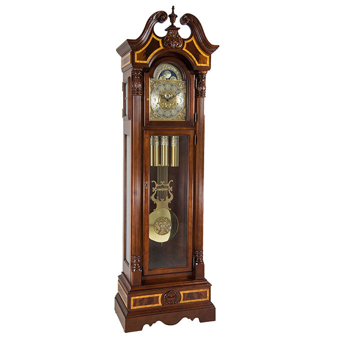 Hermle Foreman Grandfather Clock Cherry Finish