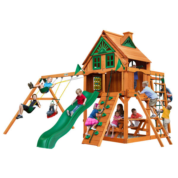 Gorilla Playset Navigator Treehouse w/ Fort Add-On & Amber Posts 01-0066-AP - Swings and More
