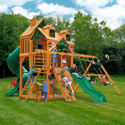 Gorilla Playsets Great Skye I Wooden Swing Set with Malibu Wood Roof, 2 Solar Wall, and 2 Slides 01-0047-AP - Swings and More