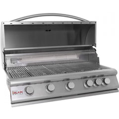 Blaze 40 Inch 5-Burner Built-In Natural Gas Grill With Rear Infrared Burner - Swings and More