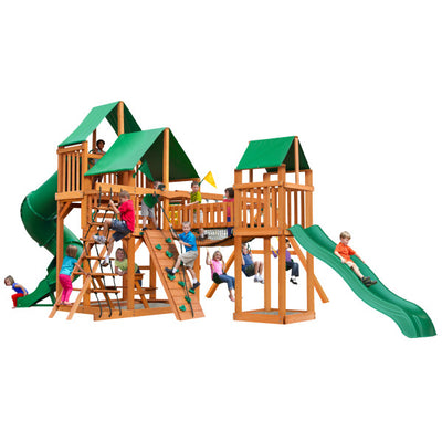Gorilla Playsets Treasure Trove I Swing Set with Green Vinyl Canopy 01-1021-AP-1 - Swings and More