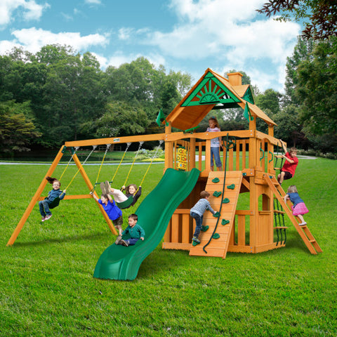 Gorilla Chateau Clubhouse Wooden Swing Set with 2 Swing Belts, Trapeze Bar, and Rope Ladder