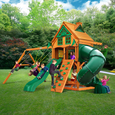 Gorilla Playsets Mountaineer Treehouse Wooden Swing Set with Fort Add-On and Tube Slide 01-0068-AP - Swings and More