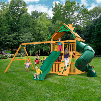 Gorilla Playsets Mountaineer Clubhouse Wooden Swing Set with Wood Roof, Extreme Tube Slide, and Rock Climbing Wall 01-0033-AP - Swings and More