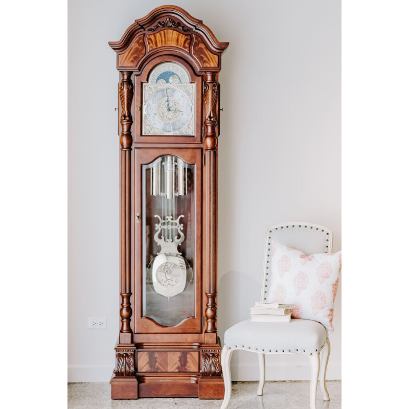 Hermle Anstead Grandfather Clock Cherry Finish