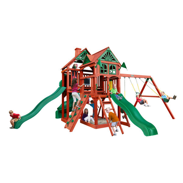 Gorilla Five Star II Deluxe Wooden Swing Set with 3 Slides, Punching Ball, and Chalkboard Kit - Swings and More