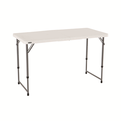 Lifetime 4-Foot Adjustable Fold-In-Half Table - White Granite (Light Commercial) - Swings and More