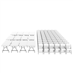 Lifetime (12) 6-Foot Stacking Tables And (72) Chairs Set (Commercial)
