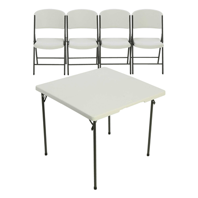Lifetime 34 -Inch Card table And 4 Chairs Combo - Swings and More