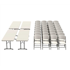 Lifetime (4) 8-Foot Fold-In-Half Tables and (32) Chairs Combo (Commercial)