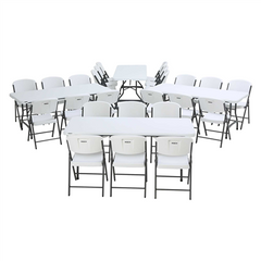 Lifetime (4) 6-Foot Stacking Tables And (24) Chairs Combo (Commercial) - Swings and More