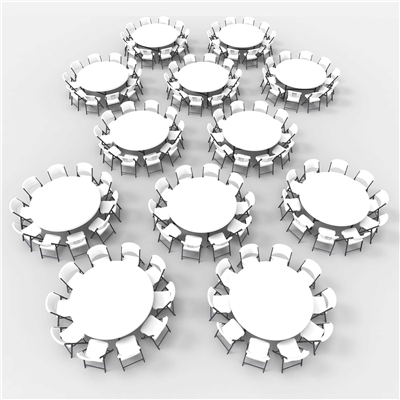 Lifetime (12) 72-Inch Round Tables and (120) Chairs Combo (Commercial) - Swings and More