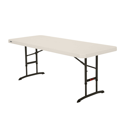 Lifetime 6-Foot Adjustable Height Table - Almond (Commercial) - Swings and More