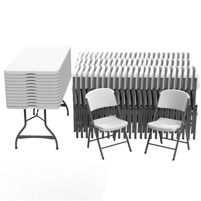 Lifetime (12) 6-Foot Stacking Tables And (72) Chairs Set (Commercial) - Swings and More
