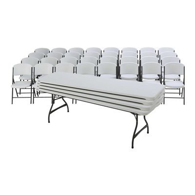 Lifetime (4) 8-Foot Rectangle Tables and (32) Chairs Combo (Commercial) - Swings and More