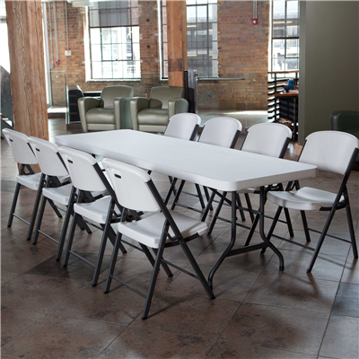Lifetime 8- Foot Folding Table Commercial - White Granite - Swings and More