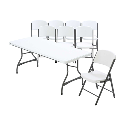 Lifetime 6-Foot Stacking Table And (8) Chairs Set (Commercial) - Swings and More