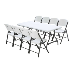 Lifetime 6-Foot Stacking Table And (8) Chairs Set (Commercial)