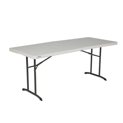 Lifetime 6-Foot Fold-In-Half Table - Almond (Commercial) - Swings and More