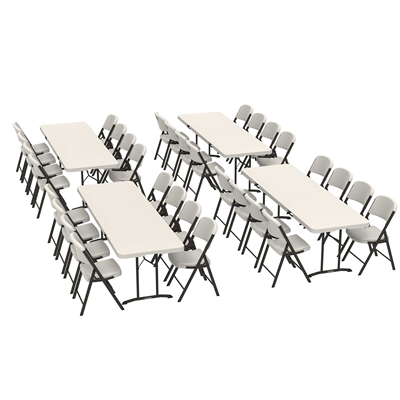 Lifetime (4) 8-Foot Fold-In-Half Tables and (32) Chairs Combo (Commercial) - Swings and More