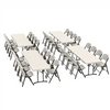 Image of Lifetime (4) 8-Foot Fold-In-Half Tables and (32) Chairs Combo (Commercial) - Swings and More