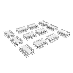 Lifetime (12) 8-Foot Stacking Tables And (96) Chairs Combo (Commercial) - Swings and More