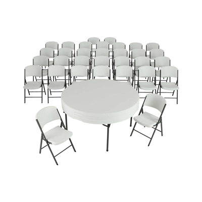 Lifetime (4) 60-Inch Round Stacking Table And (32) Chair Combo (Commercial) - Swings and More