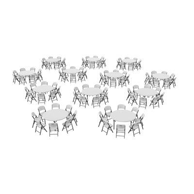 Lifetime (12) 60-Inch Round Stacking Tables And (96) Chairs Combo (Commercial) AND (96) - Swings and More