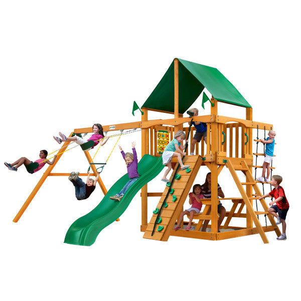 Gorilla Chateau Wooden Swing Set with Green Vinyl Canopy, Rock Climbing Wall, and Alpine Wave Slide - Swings and More