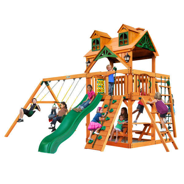 Gorilla Navigator Playset w/ Malibu Wood Roof and Amber Posts - Swings and More