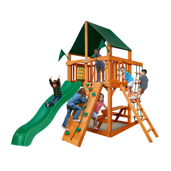 Gorilla Playset Chateau Tower  w/ Amber Posts and Sunbrella® Canvas Forest Green Canopy  01-0061-AP-2 - Swings and More