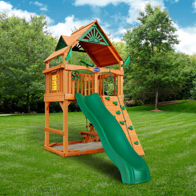 Gorilla Playset Chateau Tower  w/ Amber Posts and Standard Wood Roof 01-0061-AP - Swings and More