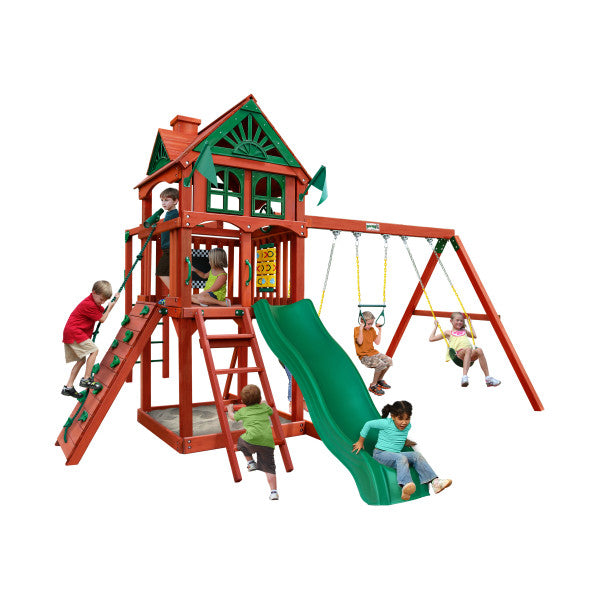 Gorilla Five Star II Wooden Swing Set with Monkey Bars, Rock Climbing Wall, and 2 Swings 01-0083-RP - Swings and More
