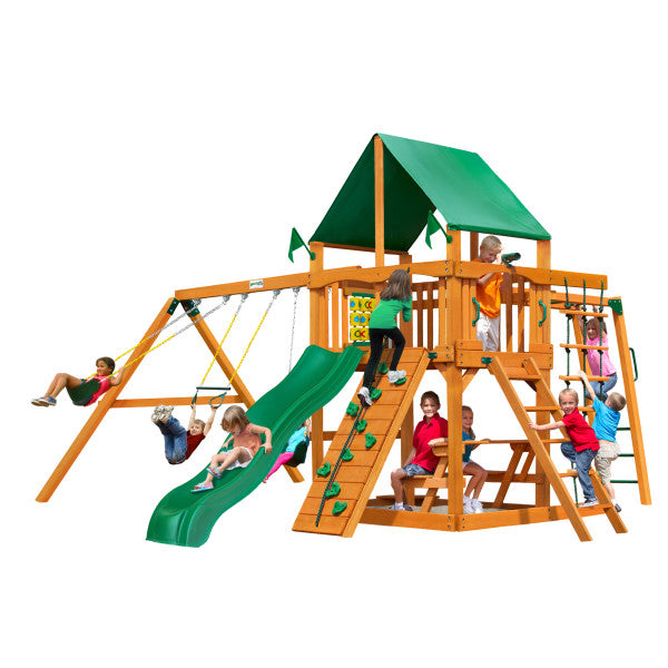 Gorilla Playset Navigator w/ Amber Posts and Deluxe Green Vinyl Canopy 01-0020-AP-1 - Swings and More