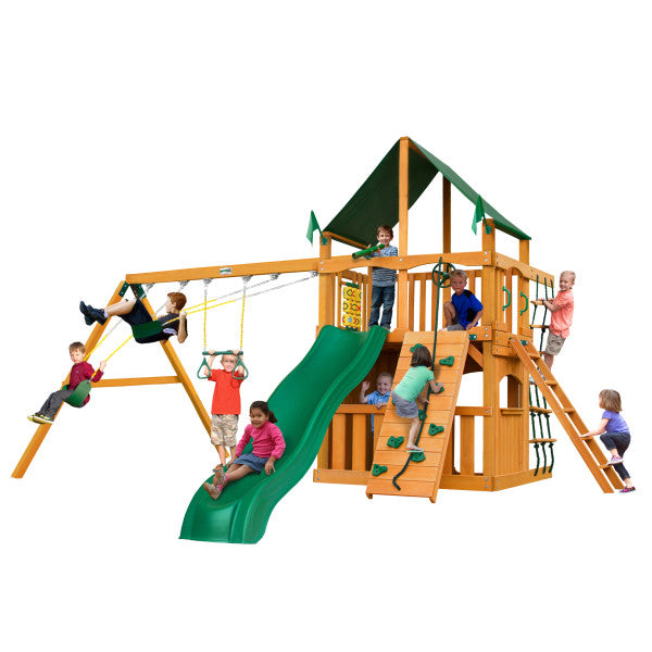 Gorilla Chateau Clubhouse Wooden Swing Set with Sunbrella® Canvas Canopy, Rock Climbing Wall, and Accessories - Swings and More