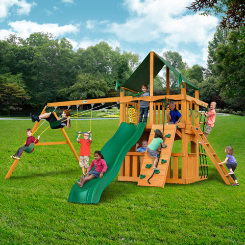 Gorilla Chateau Clubhouse Wooden Swing Set with Sunbrella® Canvas Canopy, Rock Climbing Wall, and Accessories