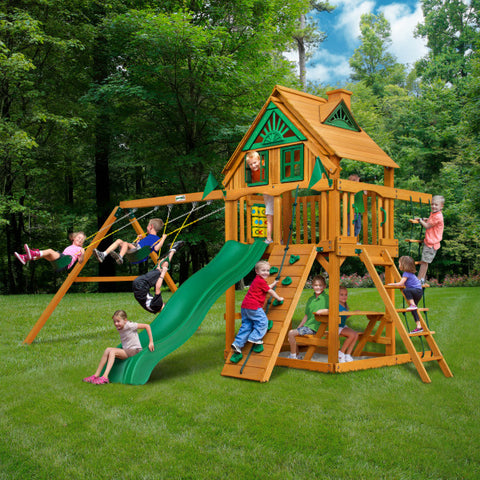 Gorilla Chateau Treehouse Wooden Swing Set with Rope Ladder, Rock Climbing Wall, and 2 Belt Swings